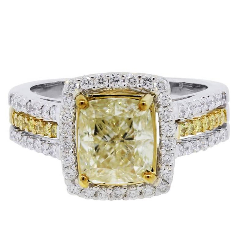 3.03 Carat Fancy Yellow and White Diamond White Gold Engagement Ring