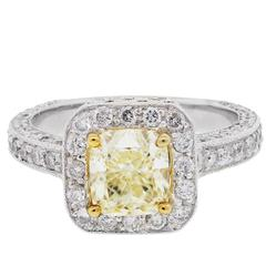 2.61 Carat Diamond Halo white and yellow gold Engagement Ring