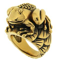 Yellow Gold Frog on Lily Pads Ring