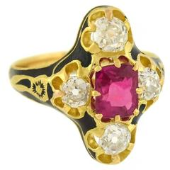 Victorian Natural Burma Ruby Diamond Enameled Gold Ring