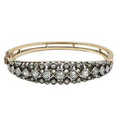 Rose Gold Bangle Bracelet with Rose Cut Diamonds