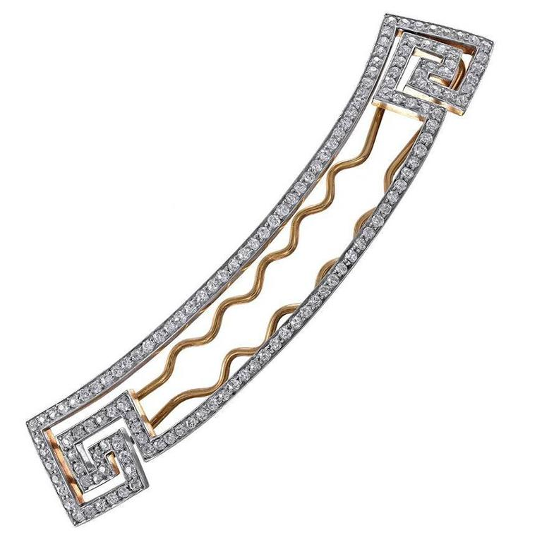 Diamond Gold and Platinum Barrette by BLACK STARR AND FROST For Sale