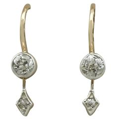 1900s Antique Diamond and Yellow Gold Drop Earrings