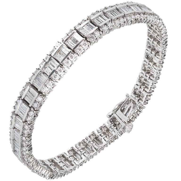 5.17 Carat Round Baguette Diamond Gold Bracelet