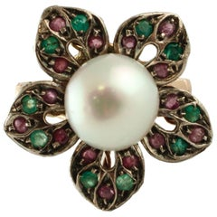 Pearl Sapphire Ruby Emerald Silver yellow Gold Ring