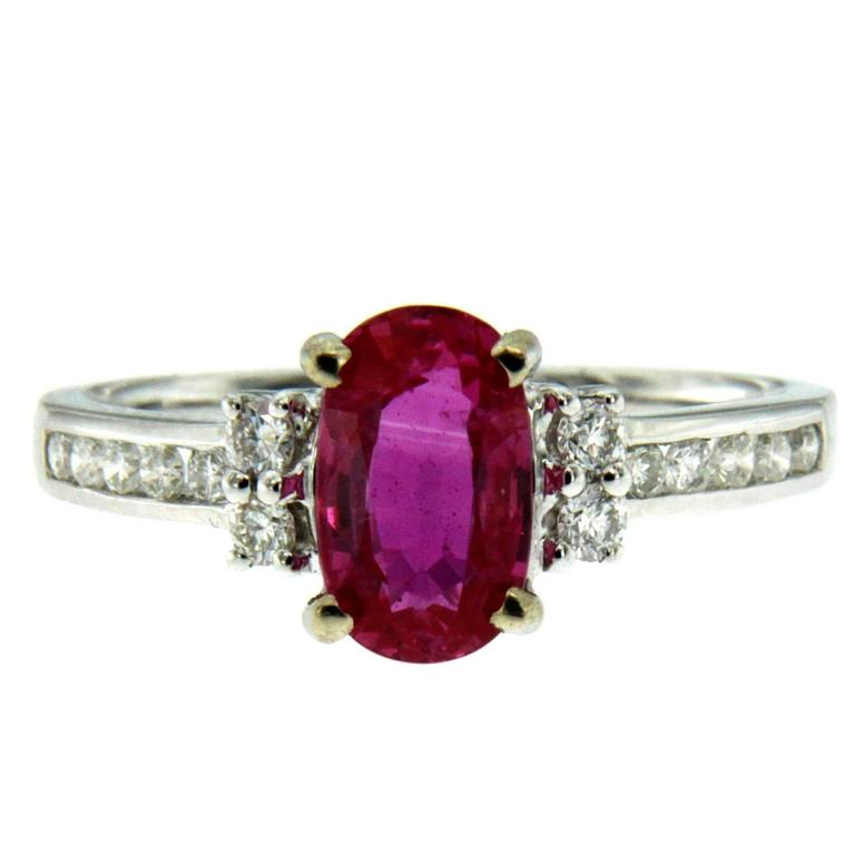 1.82 Carat Burmese Ruby Diamond Gold Ring