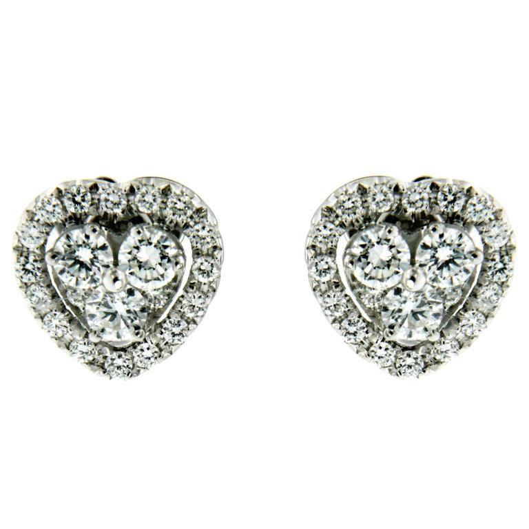 Diamond Gold Heart Earrings
