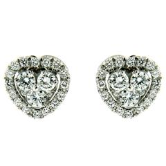 Diamond Gold Heart Earrings