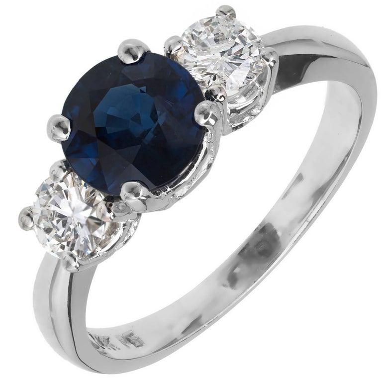 GIA Certified 1.74 Carat Sapphire Diamond Gold Three-Stone Engagement Ring