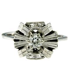 Art Deco Diamond Solitaire Gold Ring