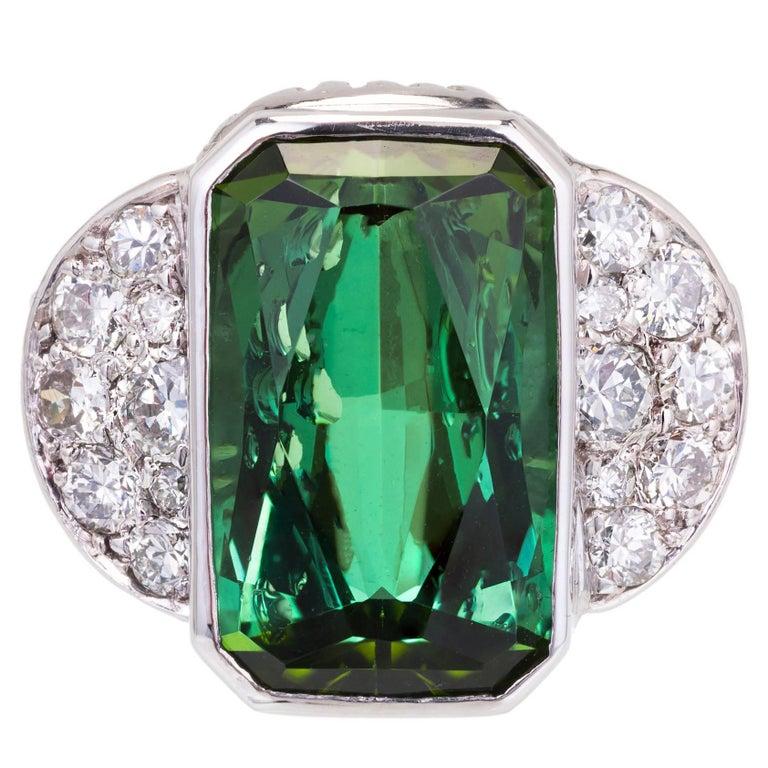 7.46 Carat Green Tourmaline Pavé Diamond Platinum Cocktail Ring