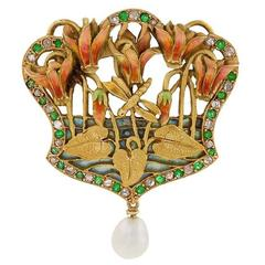 French Art Nouveau Diamond Emerald Gold and Enamel Pendant Brooch