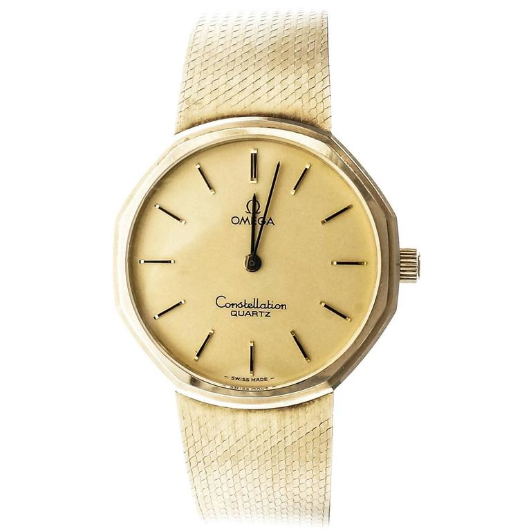 d3fb60e51bc Omega Yellow Gold Constellation Mesh Band Quartz Wristwatch For Sale at  1stdibs