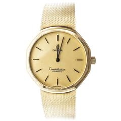 Omega Yellow Gold Constellation Mesh Band Quartz Wristwatch