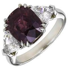 GIA 5.69 Carat Peter Suchy Purple Sapphire Diamond Platinum Engagement Ring