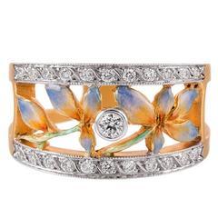 Masriera Plique a Jour Enamel Diamond Gold Ring
