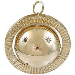 Gigantic Gold Gemset Globe Locket Pendant