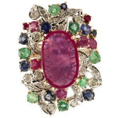Ruby Multi Gemstone Two Color Gold Cluster Ring