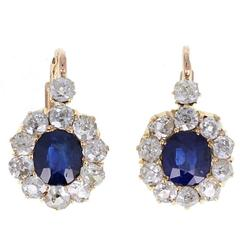 Antique Natural Sapphire Old Cut Diamond Cluster Earrings