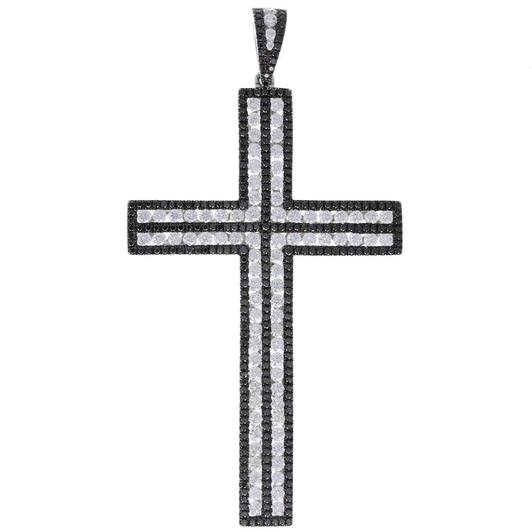Black Diamond White Diamond Large White Gold Cross Pendant For Sale