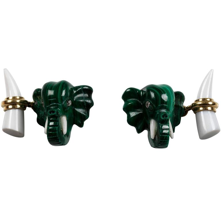 Malachite Elephant Heads Diamond Gold Cufflinks