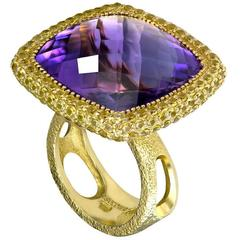 Amethyst Yellow Sapphire Yellow Gold Ring One of a Kind Handmade in NYC