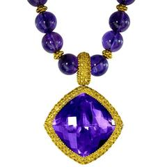 Yellow Sapphire Amethyst Yellow Gold Pendant Necklace Enhancer One of a Kind