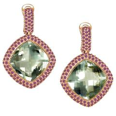 Garnet Green Amethyst Rose Gold Drop Earrings One of a Kind Handmade in NYC