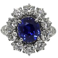 Van Cleef & Arpels 3.39 Carat Kashmir No Heat Sapphire Diamond Platinum Ring