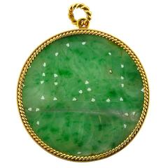 Carved Jadeite Gold Pendant
