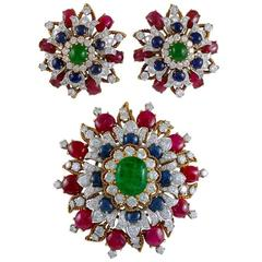 Vourakis Emerald Sapphire Ruby Diamond Gold Suite