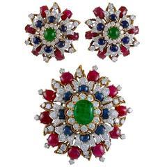 Vourakis Emerald Sapphire Ruby Diamond Gold Suite