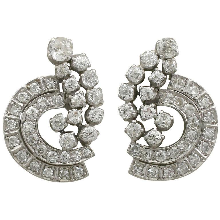 1950s 3.35 Carat Diamond White Gold Cluster Earrings