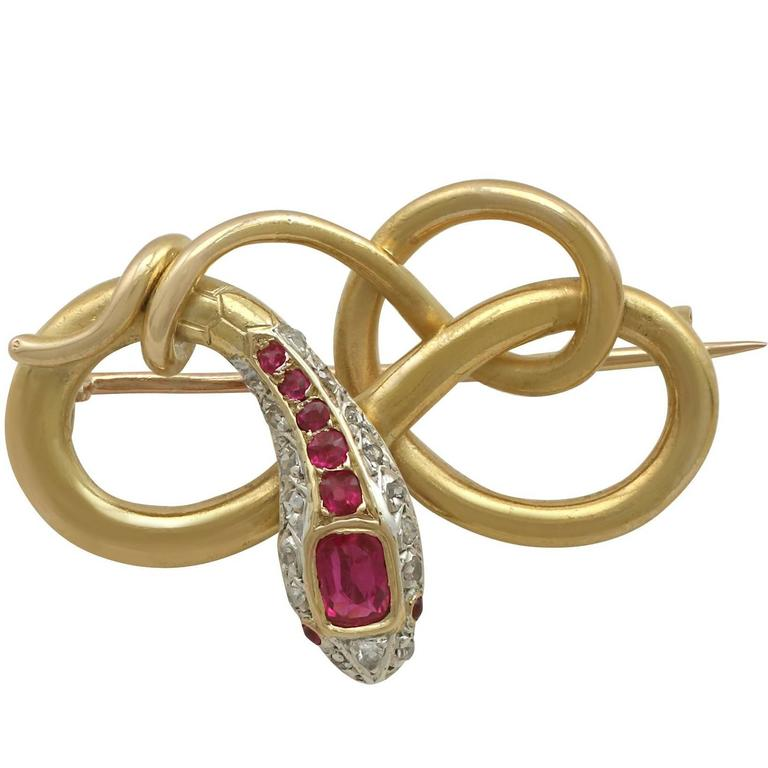 1880s Antique Victorian Ruby and Diamond Yellow Gold 'Snake' Brooch