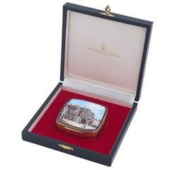 1950s Calderoni Silver Gilt Enamel Painted Box