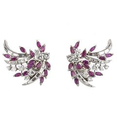 1940s Tabbah Ruby Diamond Platinum Earrings