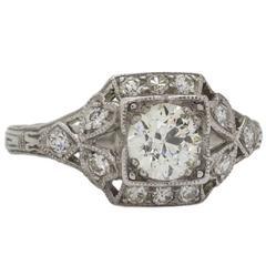 0.75 Carat Old European Cut Diamond Platinum Engagement Ring, circa 1930s
