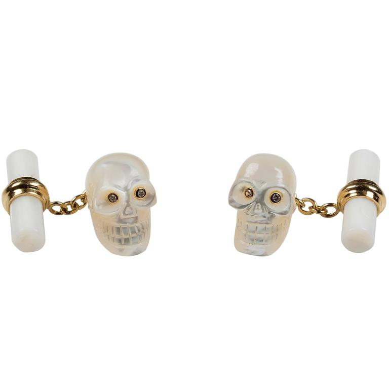 Mother of Pearl Diamond Skull Gold Cufflinks For Sale
