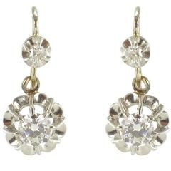 French Art Deco Numbered Diamond White Gold Drop Earrings