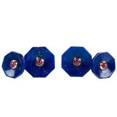 18 Karat Yellow Gold Lapis Lazuli Rubies Carved Octagonal Cufflinks