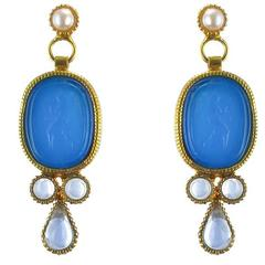 Italian Blue Cameo Vermeil Drop Earrings