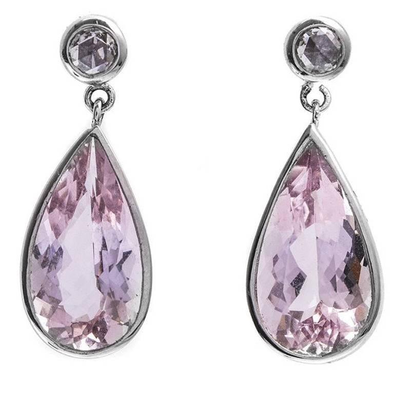 6.38 Carat Pink Beryl Morganite and Diamond Drop Earrings