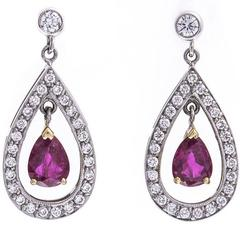 18 Carat White Gold 1.88 Carat Ruby and Diamond Drop Earrings