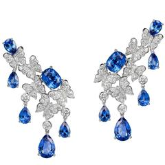 White Gold, White Diamonds and Blue Sapphire Dangle Earrings