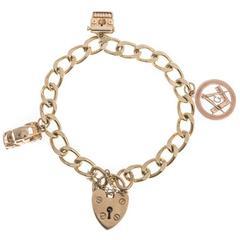 Vintage 1970s 9 Carat Gold Charm Bracelet