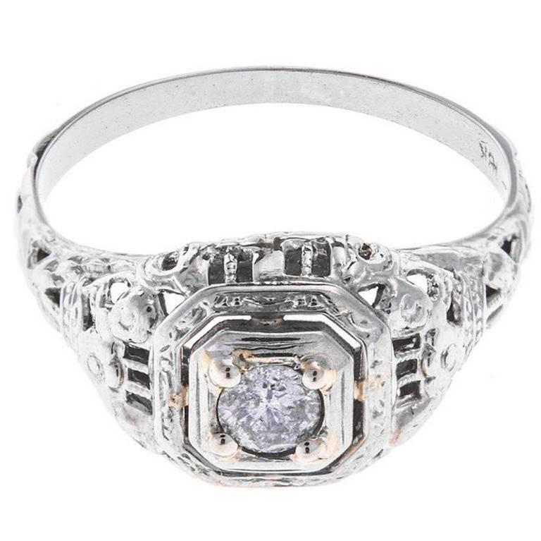 1930s White Gold 0.15 Carat Diamond Solitaire Ring
