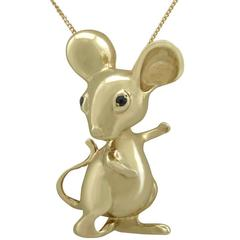 1960s Sapphire and Yellow Gold Mouse Pendant