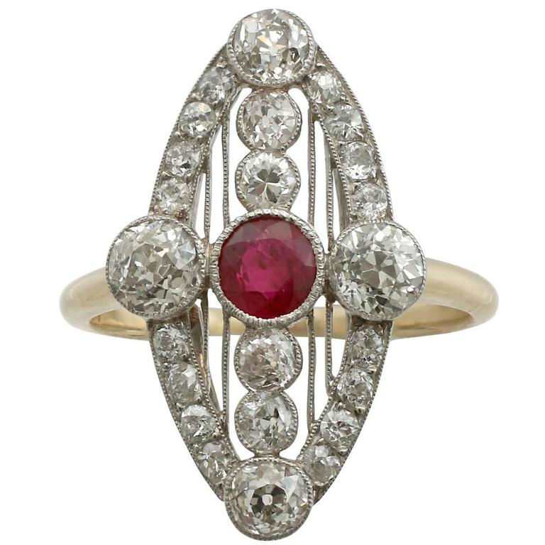 1920s Ruby and 1.88 Carat Diamond Yellow Gold Marquise Ring