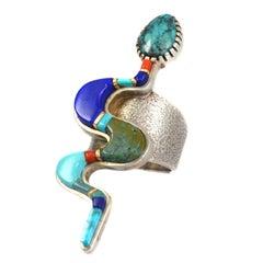 Sonwai Turquoise Lapis Lazuli Coral Inlay Silver Snake Ring