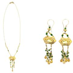 Gold Beaded Necklace and Earrings